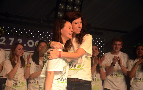 Marissa Penrod (right), the founder of Team Joseph, hugs Dance Marathon executive co-chair Anna Radoff during Block 10. Penrod expressed her gratitude toward DM for choosing her cause.
