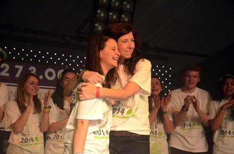 Marissa Penrod (right), the founder of Team Joseph, hugs Dance Marathon executive co-chair Anna Radoff during Block 10. Penrod expressed her gratitude toward DM for choosing her cause.