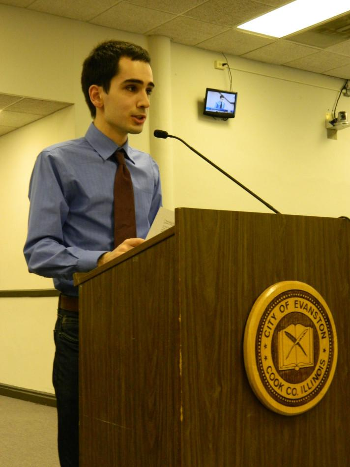 Weinberg senior Marko Pavisic presents recommended changes to Evanston's drug policy Monday evening. Ald. Judy Fiske (1st) referred the presentation to the Human Services Committee, which will take up the issue in April or May.