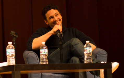 Actor James Franco speaks Saturday night at Pick-Staiger Concert Hall. Franco was the winter speaker for A&O Productions and the Fiedler Hillel Center.