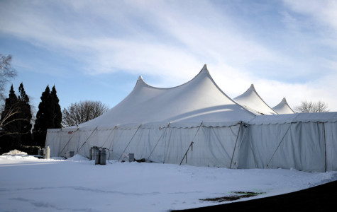 The Dance Marathon tent is set up behind Norris University Center. The 40th edition of DM will get underway Friday night.