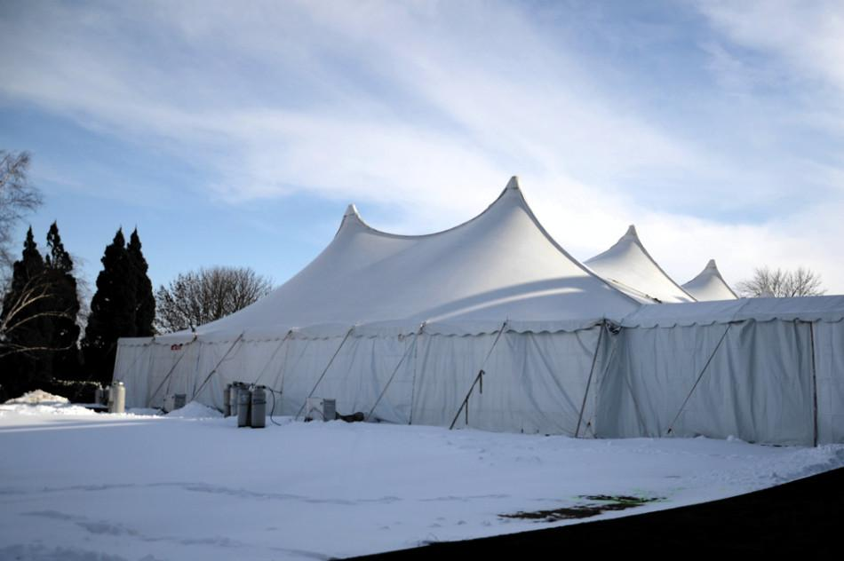 The+Dance+Marathon+tent+is+set+up+behind+Norris+University+Center.+The+40th+edition+of+DM+will+get+underway+Friday+night.
