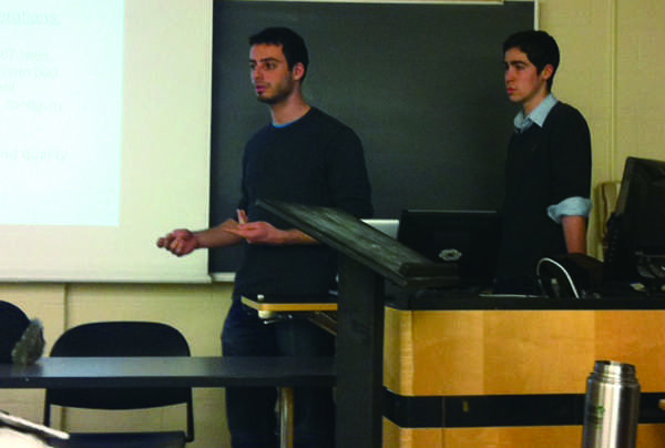 J Street U Northwestern members lead a discussion Wednesday night on issues involved in drawing the borders of Israel and Palestine at Kresge Hall. The discussion was a response to ongoing negotiations between Israel and Palestine.