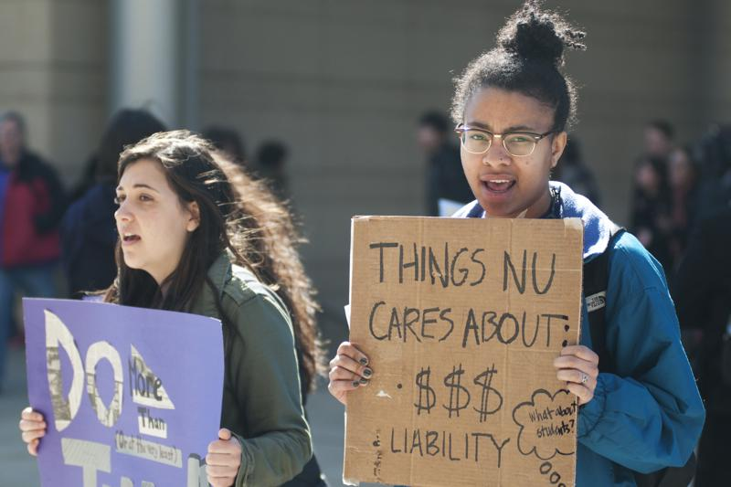 Students+protest+Friday+outside+the+kickoff+of+Northwestern%27s+%243.75+billion+capital+campaign.+The+protest+was+the+latest+in+student+efforts+to+spur+a+dialogue+on+how+NU+handles+sexual+assault+and+misconduct.