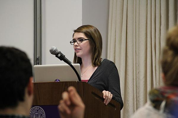 ASG speaker Katie Funderburg discusses funding for B- and T-status groups Wednesday night. The Student Groups Committee allotted more money to organizations this quarter because of a delay in sending out applications.