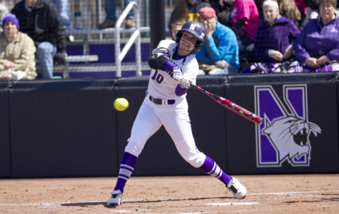 Junior utility woman Andrea DiPrima smacks a run in at home. DiPrima credits NU's chemistry and teamwork as large assets in NU's 10-1 win on Saturday against UC Santa Barbara.