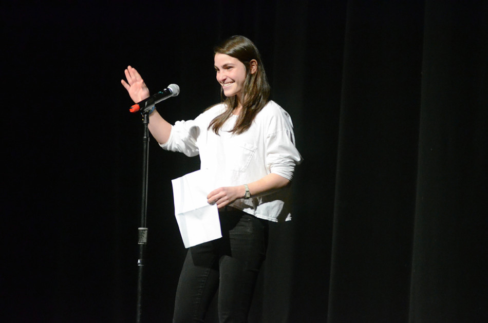Women's soccer goalkeeper Ali Herman recites a poem she wrote about failure. Herman, a Medill junior, won the competition by the judges' scoring and audience vote.