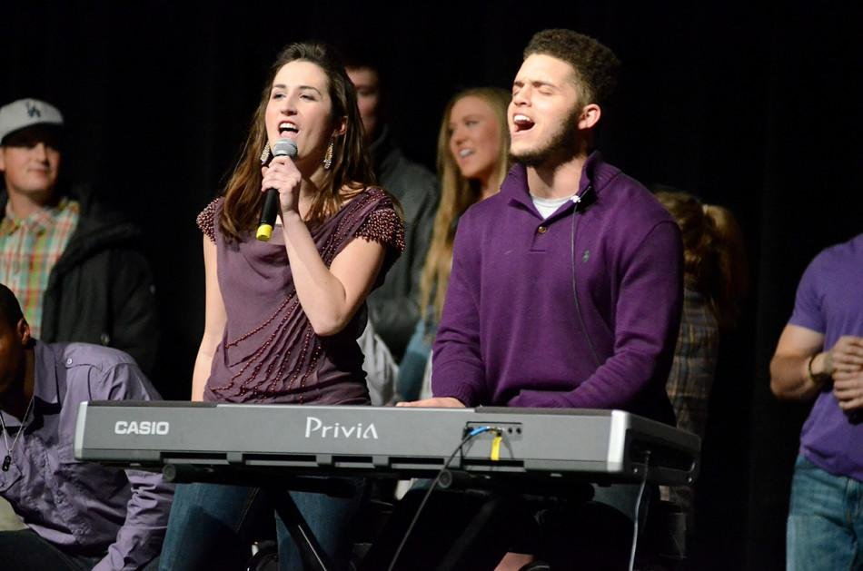 "Sophomore Austin Carr,  a wide receiver on the football team, and SESP junior Erin Donohoe close the show with a cover of the Backstreet Boys' ""Everybody (Backstreet's Back)."""