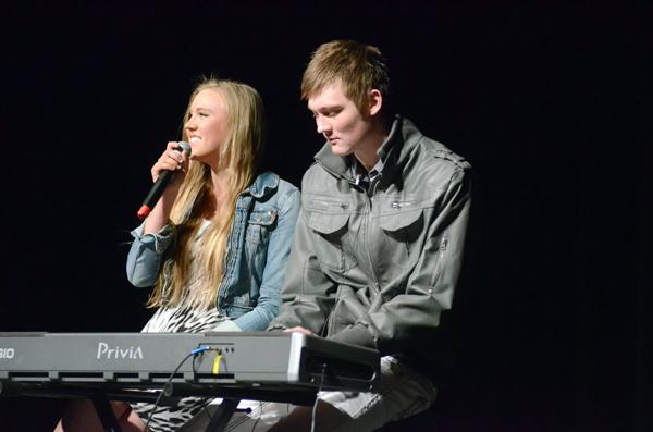 "Weinberg sophomore Kale Abrahamson and his sister Kaya perform a duet of Rihanna's ""Stay."" The duo tied for top marks from the judges and were voted second place by the audience."