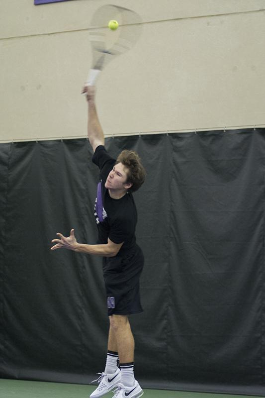 Freshman Alp Horoz, who along with freshman Sam Shropshire has lost six of his past seven doubles matches, serves. The doubles points will be crucial as Northwestern moves through conference play. Horoz said he and Shropshire need to focus on holding their serve.