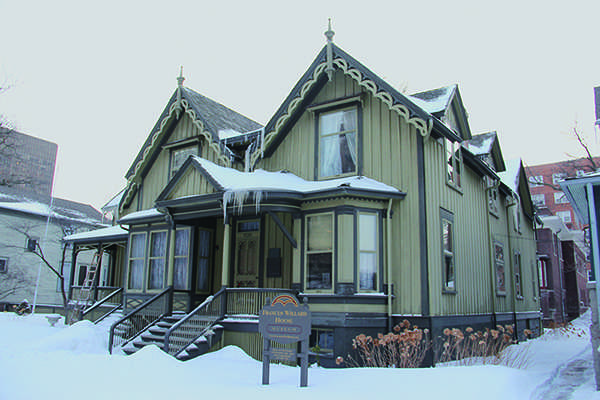 The Frances Willard House, 1730 Chicago Ave., is covered in snow Wednesday. The Frances Willard Historical Association is celebrating Willard's 175th birthday in an attempt to reintroduce her to the public.