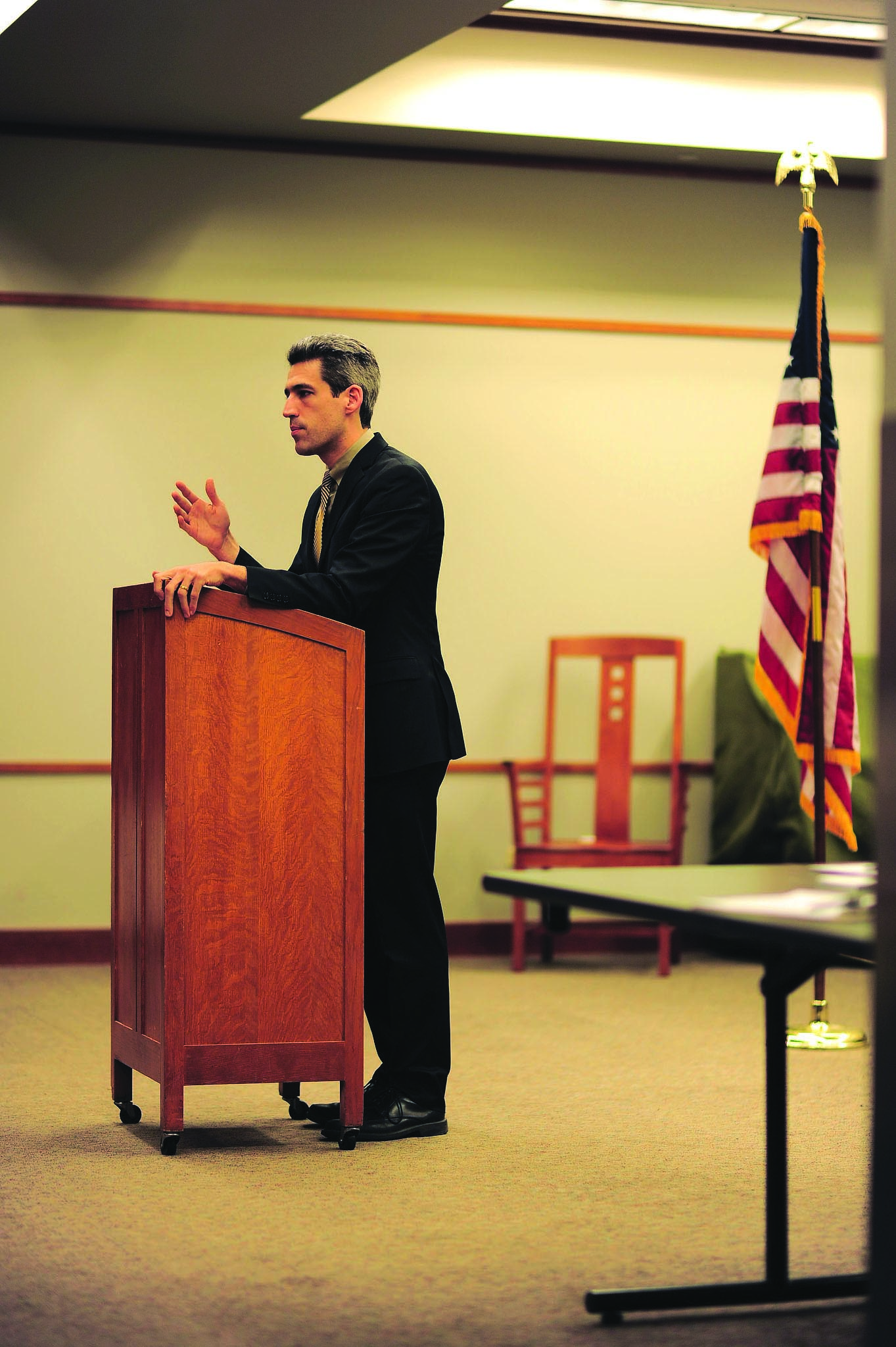 State Sen. Daniel Biss (D-Evanston) hosted a town hall meeting at the Evanston Public Library on Monday. He discussed issues related to income tax and pension reform.