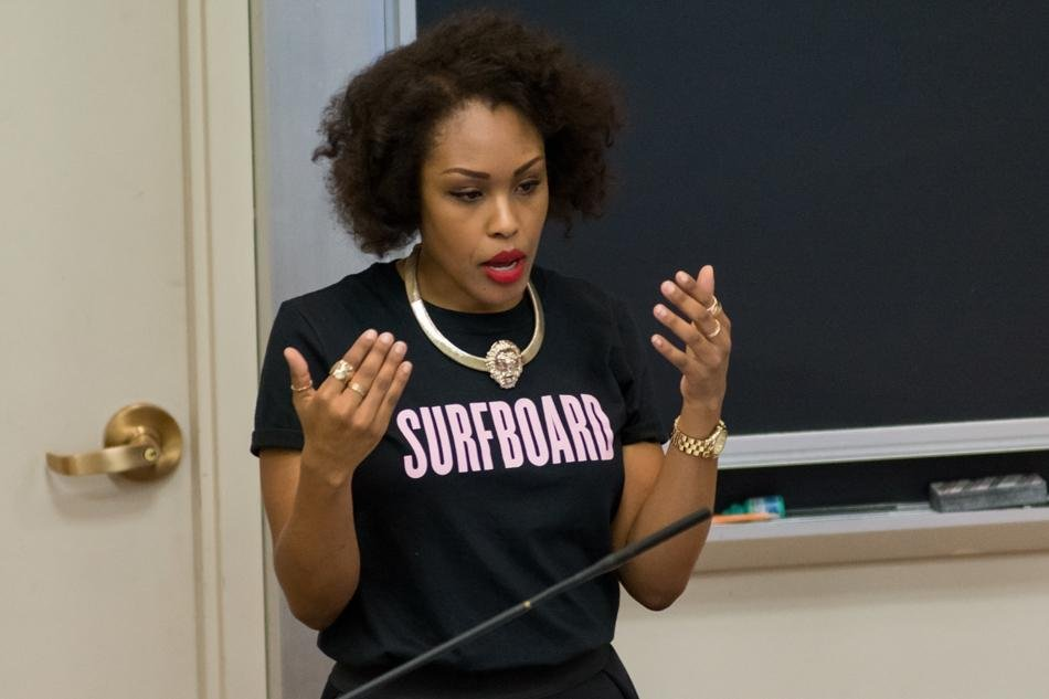 Kara Brown, a prominent feminist blogger, addresses the crowd at Sex Week's headline event Wednesday night. Brown's talk touched on topics ranging from Rihanna and Beyonce to the identification of modern feminism.