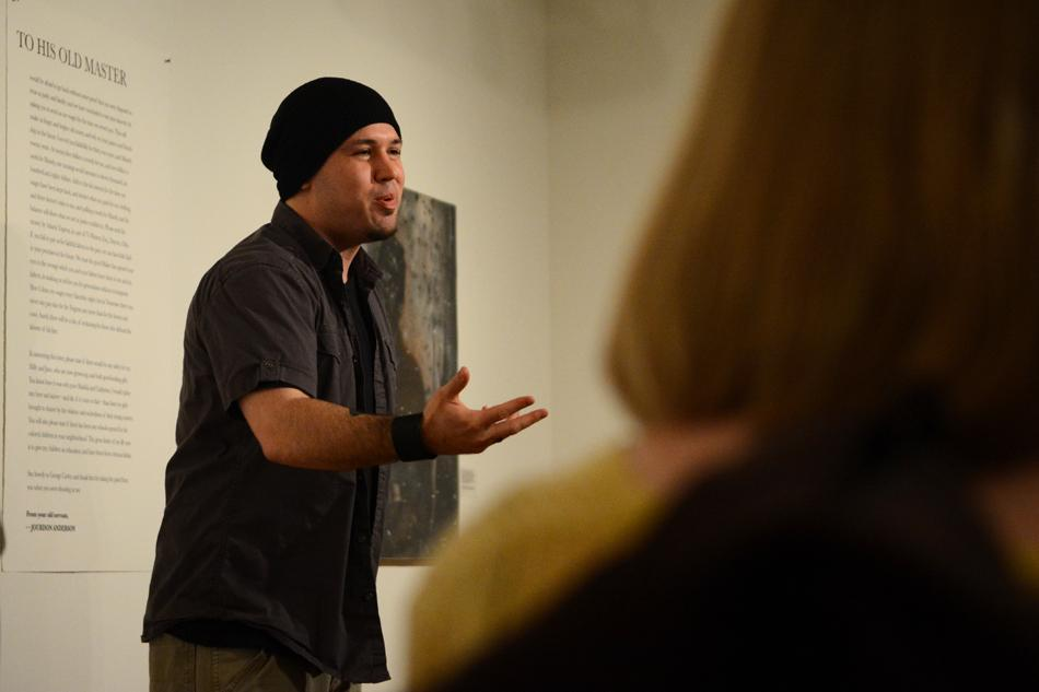 Two-time National Poetry Slam champion Guante performed spoken word poetry Wednesday night at the Dittmar Gallery. Co-sponsored by SHAPE and Take Back The Night, the event sought to raise awareness about issues like sexual assault and rape culture.