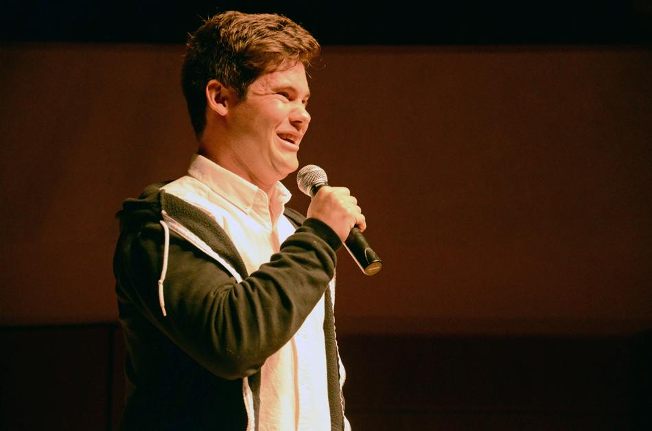 Comedian+Adam+DeVine+performs+stand-up+at+Pick-Staiger+Concert+Hall+on+Tuesday+evening.+A%26O+Productions+brought+DeVine+to+campus+as+their+spring+speaker.