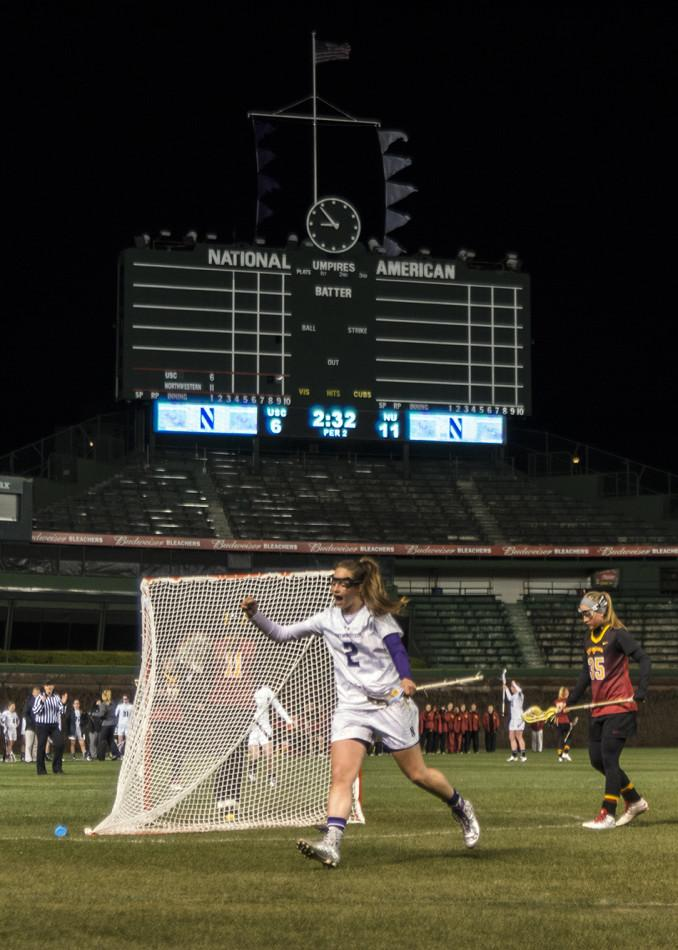 Draw+control+specialist+Alyssa+Leonard+cheers+after+Northwestern%27s+final+goal+in+its+win+against+Southern+California.+The+senior+kicked+off+her+last+regular-season+game%27s+second+half+with+a+behind-the-back+goal.
