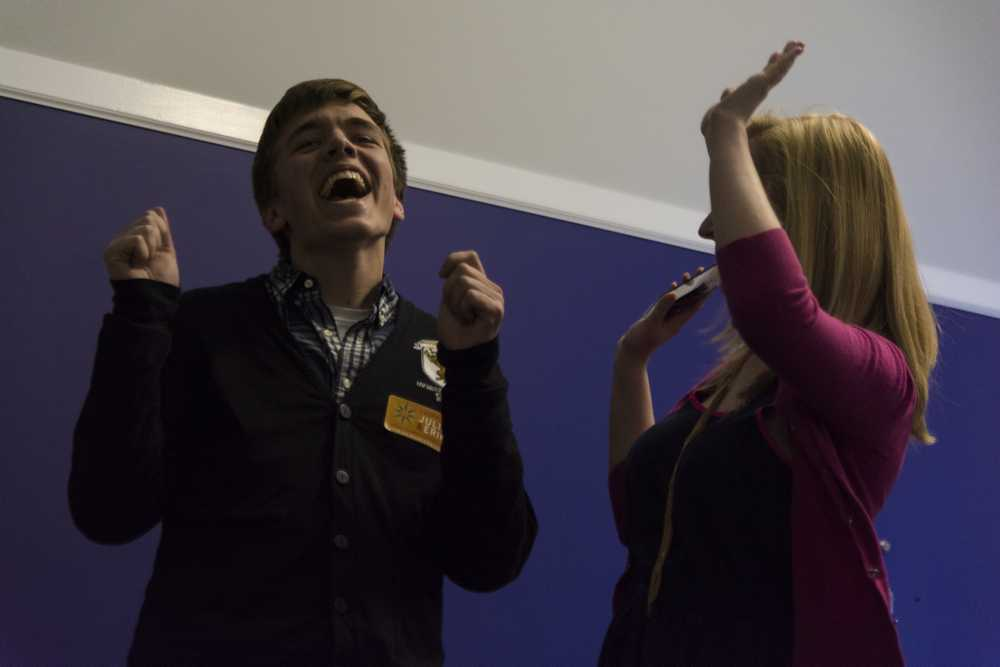 Weinberg juniors Julia Watson and Erik Zorn celebrate after learning they had won the election to serve as Associated Student Government's president and executive vice president for the 2014-15 school year. Watson and Zorn defeated fellow Weinberg juniors Alex Deitchman and Ronak Patel to win the election, which was held Wednesday.