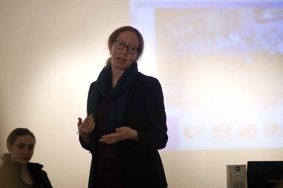 Caitlin Bruce (Weinberg '08) speaks at a panel discussion on the similarities between circus art and graffiti at the Evanston Art Center. She was among three other artists and scholars on the panel.