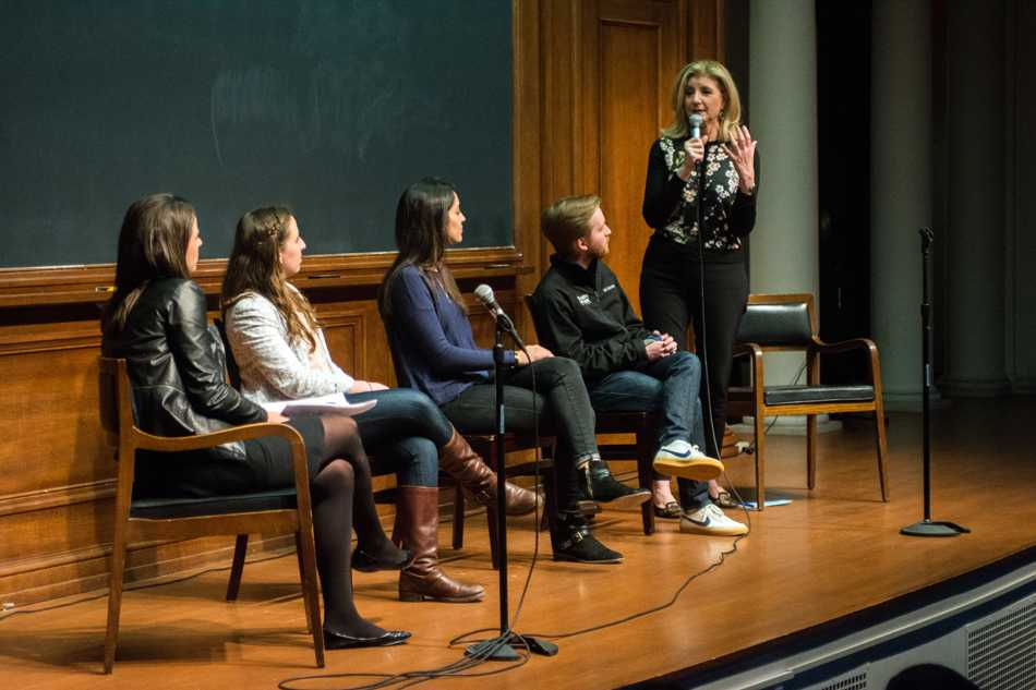 Arianna+Huffington+addresses+students+in+Harris+Hall+on+Sunday+night.+Huffington%E2%80%99s+talk%2C+presented+by+A%26O%2C+touched+on+topics+including+the+role+of+stress+and+burnout+in+today%E2%80%99s+society.