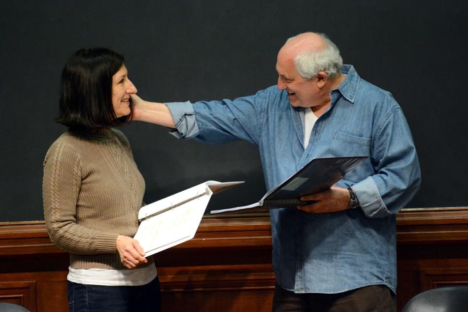 Julie Proudfoot and Frederic Stone perform in a staged reading of The Lake on campus Monday evening. The event was in conjunction with programming for Sexual Assault Awareness Week.
