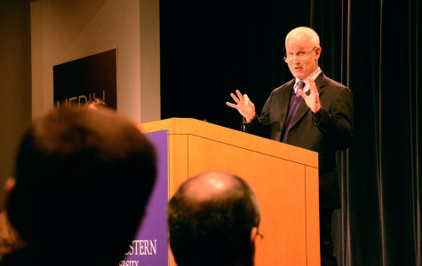 """University President Morton Schapiro answers audience questions after his """"Conversations with President Schapiro"""" talk in the McCormick Tribune Center on Thursday morning. Schapiro will hold a similar event Wednesday at Northwestern's Chicago campus."""
