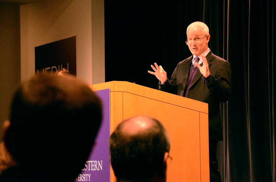 University+President+Morton+Schapiro+answers+audience+questions+after+his+%E2%80%9CConversations+with+President+Schapiro%E2%80%9D+talk+in+the+McCormick+Tribune+Center+on+Thursday+morning.+Schapiro+will+hold+a+similar+event+Wednesday+at+Northwestern%E2%80%99s+Chicago+campus.