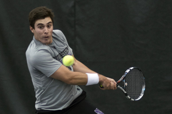 Raleigh Smith gears up for a backhand return. Northwestern's senior leader stumbled over the weekend, falling in both of his singles matches in close losses to Ohio State and Penn State.