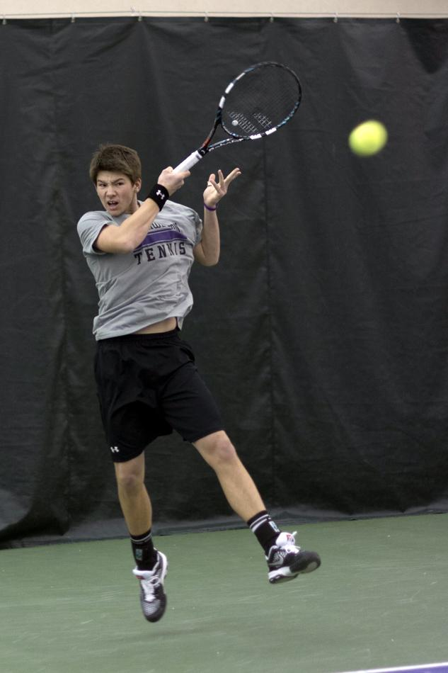 Freshman Strong Kirchheimer hopes to duplicate the success he had against Michigan and Michigan State players at last fall's Big Ten Singles Championships. Northwestern takes on the Wolverines and Spartans this weekend in Evanston.
