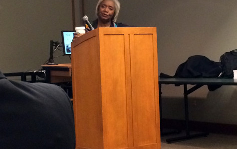 """Darlene Clark Hine, professor of African American studies and history, gives a talk on her book """"The Black Chicago Renaissance""""  at Evanston Public Library on Thursday evening. Hine discussed a Chicago cultural movement in the 20th century that rivaled the Harlem Renaissance in significance."""