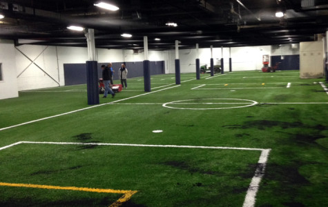 The interior of a newly constructed Evanston indoor soccer facility is shown. Located at 2025 Dempster St., the space will be used by Evanston's youth soccer program when weather makes it impossible to play outdoors.