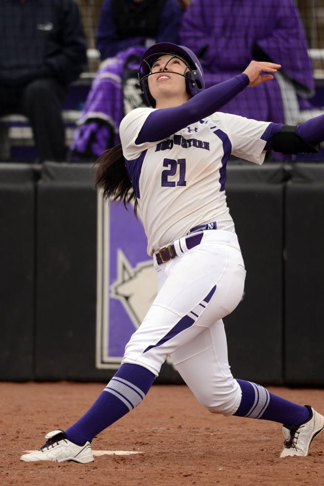 Marisa+Bast+tracks+her+pop+fly+after+connecting+on+a+pitch.+The+senior+infielder+had+3+RBIs+in+the+first+game+of+the+Wildcats%E2%80%99+double+header.+