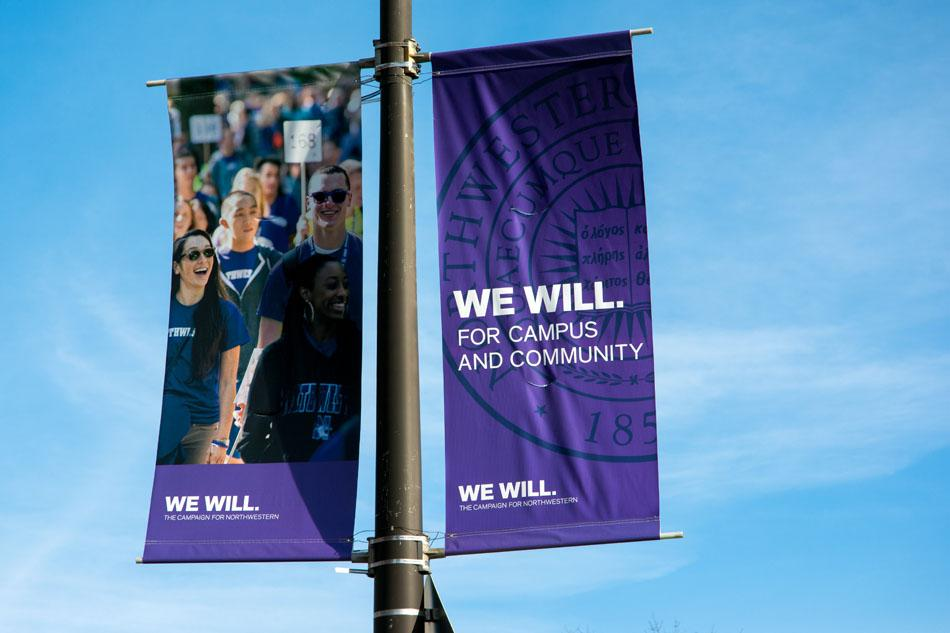 Banners+publicizing+Northwestern%E2%80%99s+%E2%80%9CWe+Will%E2%80%9D+fundraising+campaign+went+up+across+campus+following+the+announcement+of+the+initiative%2C+which+aims+to+raise+%243.75+billion+for+the+University.