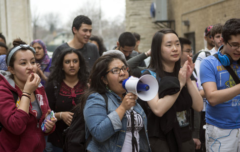 Students organized a protest outside the Sodexo offices Monday afternoon. The protest was organized to show support for Rafael Marquez, a worker who Sodexo put on temporary suspension allegedly because he said he stood up for another worker in a staff meeting.