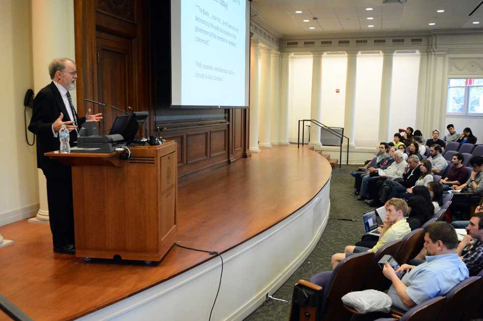 New York University economics Prof. William Easterly gives a talk at Harris Hall on Thursday night. The lecture, part of the One Book One Northwestern program, discussed the problems with the organization of economic development around the world.