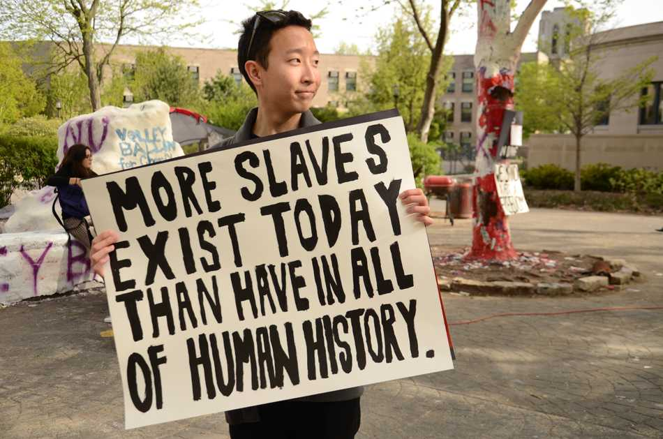 A student takes part in the 24-hour campaign organized in an effort to raise awareness about modern-day slavery. The Fight for Freedom Project organized the event, which is running from Thursday through Friday afternoon.