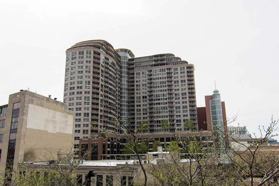 The Sherman Plaza complex is one of the tallest buildings in Evanston. Changes to Sherman Plaza and other buildings have been proposed in the wake of several recent suicides.