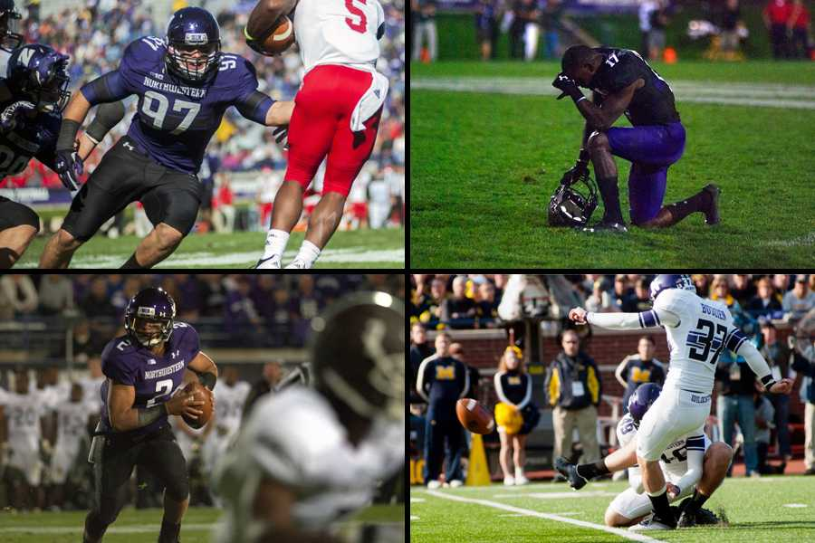 Former Northwestern players (clockwise from top left) Tyler Scott, Rashad Lawrence, Jeff Budzien and Kain Colter all signed with NFL teams Saturday. Between now and the start of the season, they will fight for roster spots in pursuit of NFL careers.