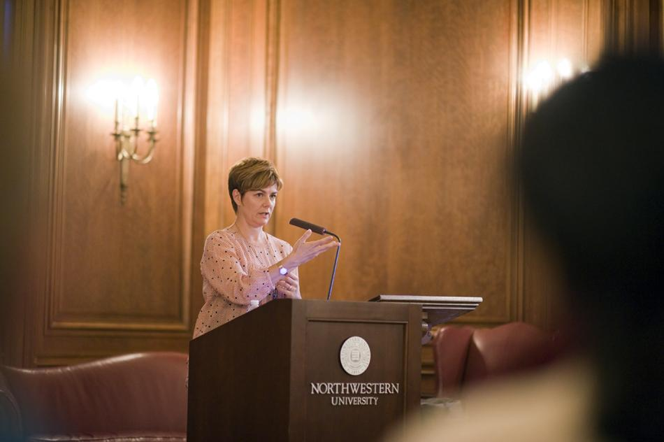 Jillian Reilly, a global aid worker, addresses NU in a speech about her discoveries in her work in humanitarianism. She said through her career, she found many shortcomings in the aid industry and is now attempting to increase awareness regarding these issues.
