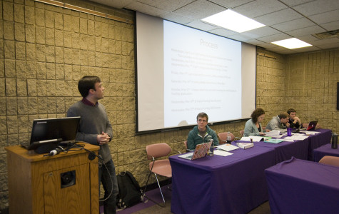 McCormick senior Alex Van Atta, Associated Student Government student groups vice president, discusses the funding process at the Senate meeting Wednesday. ASG confirmed the 2014-2015 Operating Budget, which added funds for students with financial need and a new Wild Ideas Fund.