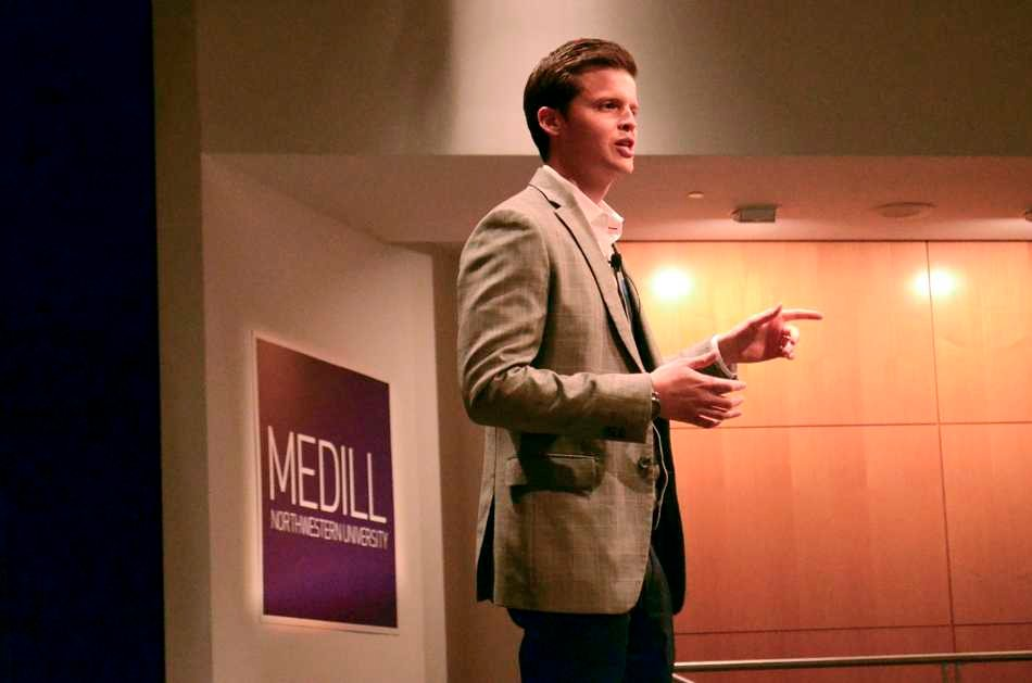 Ben+Shields%2C+director+of+social+media+at+ESPN%2C+gives+a+keynote+speech+Monday+afternoon+at+the+McCormick+Tribune+Center.+The+speech+was+for+the+Great+Lakes+region+meeting+of+the+Associated+Press+Sports+Editors%2C+hosted+by+the+Sports+Immersion+Program+and+Medill+Career+Services.%0A