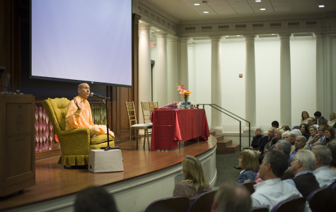 "Radhanath Swami, a world-renowned speaker and social activist, discusses how his experiences affected his views on the roles of leaders within society Tuesday. The event, called ""The Power to Lead,"" drew about 150 individuals to Harris Hall."
