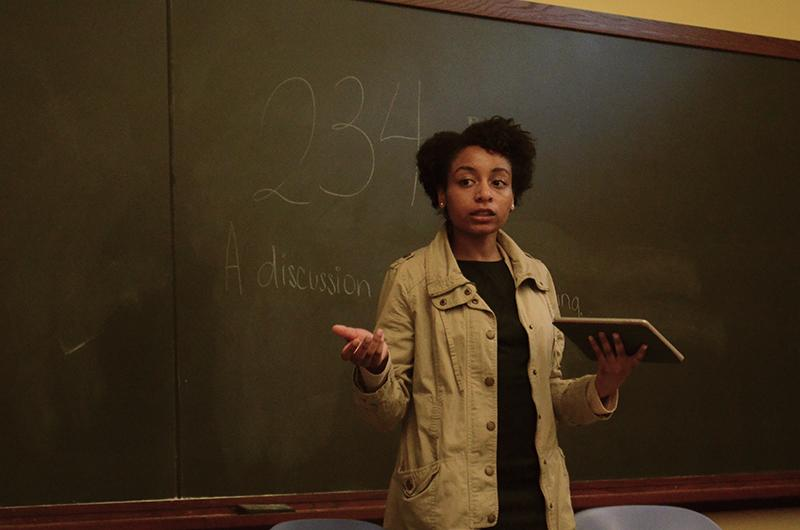 A+student+speaks+at+the+Dialogue+on+Human+Trafficking+on+Thursday+evening+in+Harris+Hall.+Members+of+the+Chicago+Dream+Center+led+the+discussion%2C+which+was+held+in+light+of+the+abduction+of+more+than+200+Nigerian+girls+on+April+15.