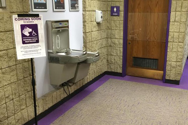 The bathrooms on the third-floor of Norris University Center will be transitioned to gender open restrooms. The restrooms are scheduled to open before the start of Fall Quarter.