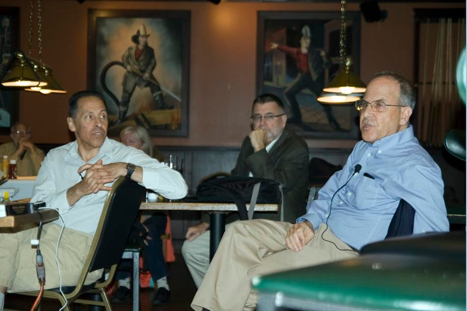 Law Prof. Andrew Koppelman, History Prof. Peter Hayes and English Prof. Carl Smith discuss the findings of the John Evans Study Committee at Firehouse Grill. The three professors were part of the eight-person committee that was tasked with determining whether John Evans played a role in the Sand Creek Massacre.