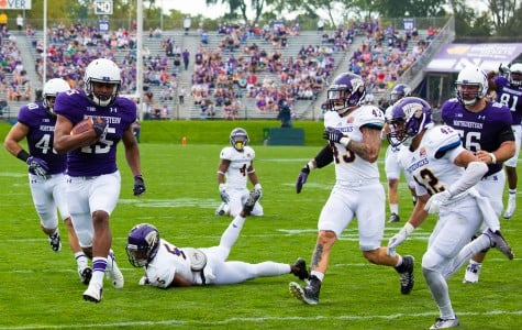 Freshman running back Solomon Vault scores a touchdown against Western Illinois. The Wildcats have struggled offensively during non-conference play and begin their Big Ten schedule Saturday at Penn State.