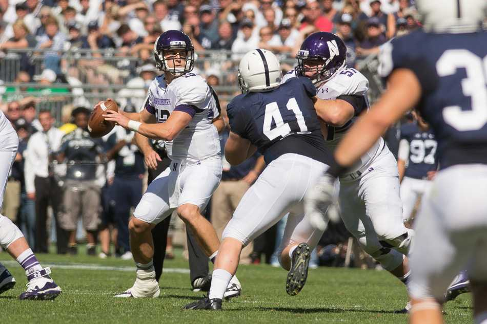 Senior quarterback Trevor Siemian fires downfield during Northwestern's 29-6 victory over Penn State on Saturday. Siemian threw for 258 yards and rushed for three touchdowns in the upset victory.