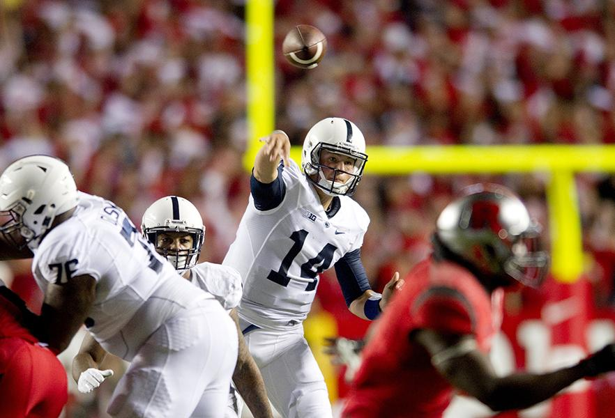 Penn State's Christian Hackenberg throws a pass against Rutgers on Sept. 13. Northwestern's defense will have its hands full with the multi-talented quarterback Saturday.