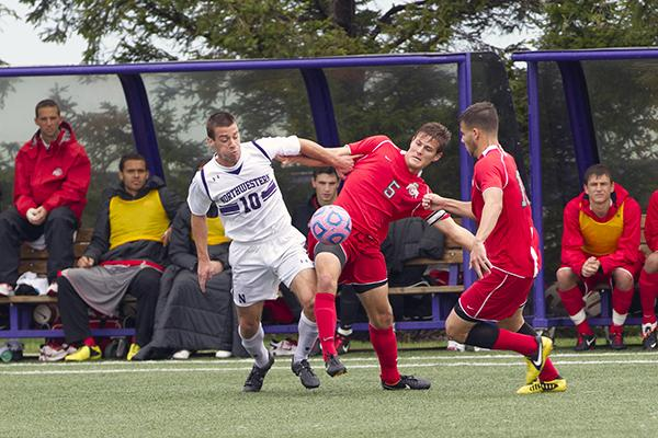 Joey Calistri battles to win a header over a defender. The junior forward tallied one assist in Northwestern's most recent win over Valparaiso.