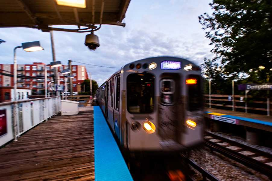 A Purple Line express train arrives at the Dempster station in Evanston. An upcoming poll from city officials will ask Northwestern students their opinions on the availability of public transportation options in Evanston.