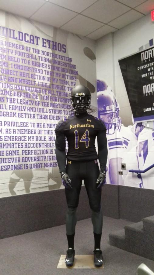 "FRESH LOOK Northwestern's Homecoming uniforms, unveiled Monday, feature a ""gothic"" black and gold design. The uniforms also include ivy imagery on the jersey and pants and The Arch is pictured on the helmets."
